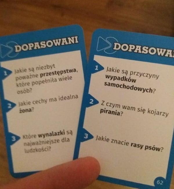 Dopasowani - przykładowe karty