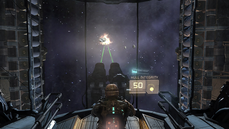Jedna z nielicznych mini gierek wbudowanych w rozgrywkę. Tu odpieramy nawałnicę asteroidów.