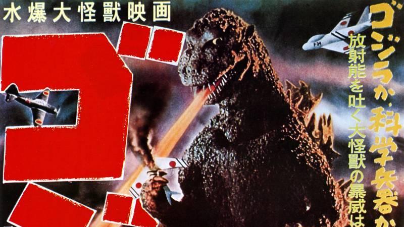 Fragment plakatu filmu Godzilla. Źródło: https://commons.wikimedia.org