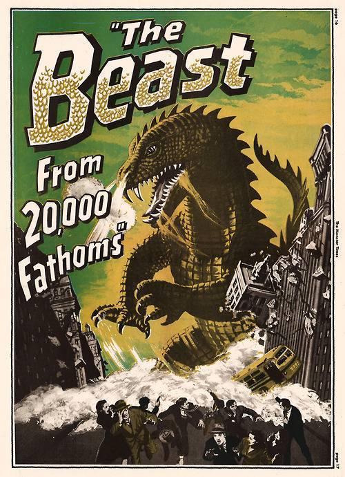 Plakat promujący film The Beast from 20,000 Fathoms. Źródło: https://commons.wikimedia.org