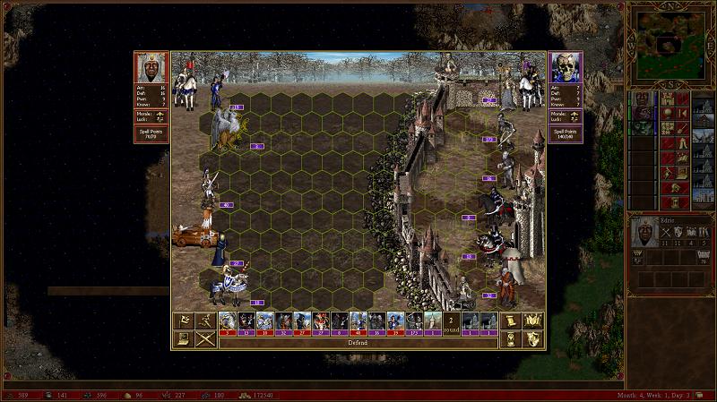 Ekran oblężenia nekropolii, statystyki bohaterów obok odpowiadających im wojsk, na dole pasek kolejności poruszania się oddziałów dodany w modzie. Zasięg ruchu jednostki oznaczony przyciemnionymi heksami.