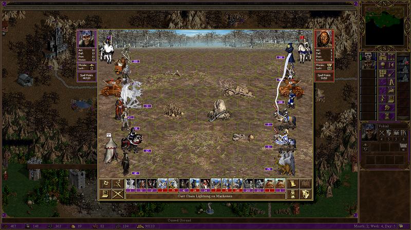 Łańcuch piorunów przeskakujący między jednostkami przeciwnika.